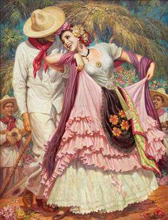 """La Bamba"" by Jesus Helguera Chihuahua, Creepy History, Mexican Paintings, Mexico Culture, Mexico Art, Mexican Artists, Amazing Paintings, New Artists, Fine Art Gallery"