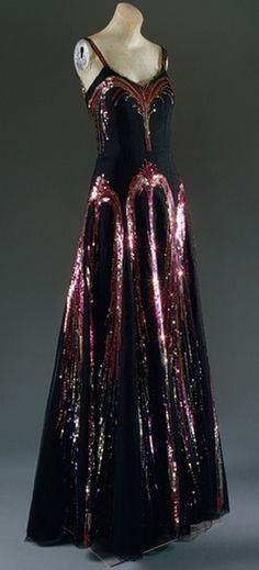 Chanel Dress - 1938 - House of Chanel (French, founded 1913) - Design by Coco Chanel (French, 1883-1971) - Black silk net with polychrome sequins