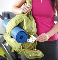 Cartwheel Fitness/Overnight Bag - It's the perfect place to slip bigger items, like your yoga mat. You'll find oodles of pockets: two big cargo ones, lots more little ones, zipped ones, and soft-lined ones for gadgets. There's even a special ring holder for your baubles when you're at the gym. You'll also find LUG favorites, like a ventilated compartment, clear-coated bottom for easy cleaning, and a luggage strap. Plus, this bag comes with a bonus: a removable key fob.