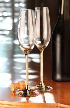 Swarovski Crystalline Golden Shadow Toasting Flutes