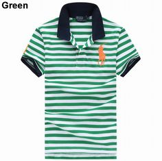 Ralph Lauren Men Cotton Big Pony Striped Polo White Green