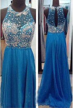 2015 Prom Dresses Luxury Bling Sparkle A-Line Sheer Bodice Beads Rhinestones Pearls See-through Back Chiffon Long Formal Prom Dress Party Gowns