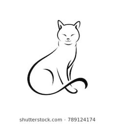 Immagine vettoriale stock 789124174 a tema Simple Cat Design White Background (royalty free) Simple Cat Drawing, Cute Cat Drawing, Cat Background, Background Patterns, Animal Line Drawings, Cat Tattoo Designs, Cat Sketch, Cat Quilt, Cat Photography