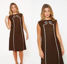 Vintage 60s CHOCOLATE Brown Shift Dress MOD Midi by LotusvintageNY #60s #50s #shiftdress #cocktaildress #mod #rockabilly #vintage #1960s #etsy