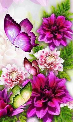 Diamond Painting Purple Butterflies and Flowers Kit