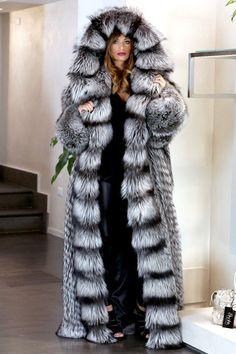 FUR COAT JACKET SILVER FOX SIMPLY WONDERFUL FULL LENGHT PELZMANTEL FUCHS лиса | eBay