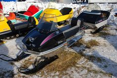Arctic Cat Panther 400 Vintage Snowmobile with caboose at Tip-Up Town, Houghton Lake, MI 1-21-2012 by Corvair Owner, via Flickr