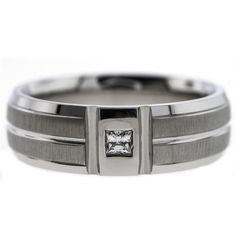 0.25 Cttw G VS Princess Cut Diamonds Striped Wedding Band Ring in 14K White Gold #NYCJewelers #Wedding #Band #Solitaire #Ring