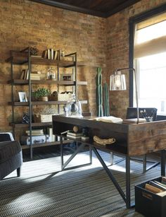 A home office might not get a lot of non-work related use but just because you have to work in there doesn't' mean it can't have great style! Here are some home office decorating ideas that will give your room… Continue Reading → Industrial Home Offices, Industrial Office Design, Industrial House, Industrial Interiors, Urban Industrial, Modern Rustic Office, Industrial Farmhouse, Rustic Office Decor, Man Office Decor