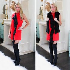 Red black and #Swank all over! This #Alexis Mylo Dress is such an easy to style statement piece - pair it with a fur vest for a chic look!  Shop @emilydeesboulden's entire look by clicking the link in our bio! #ShopSwank #SwankStyle