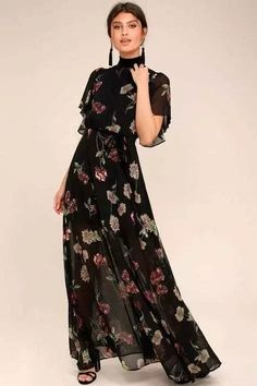 The Every Little Thing Black Floral Print Maxi Dress will make everything alrigh. - Fashion The Every Little Thing Black Floral Print Maxi Dress will make everything alrigh. Sexy Maxi Dress, Boho Dress, Dress Skirt, Maxi Dresses, Ruffle Dress, Beige Maxi Skirts, Chiffon Maxi Dress, Long Dresses, Tank Dress