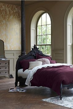 Soft Washed Linen Duvet - Anthropologie But I like the bed. Country Look, French Country, Washed Linen Duvet Cover, Elsie De Wolfe, Beautiful Bedrooms, Romantic Bedrooms, Luxury Bedrooms, Master Bedrooms, Home Decor Bedroom