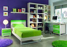 Dormitorio juvenil: Dormitorio Juvenil  450-01 | Habitación Moderna y Fresca, zona de estudio con una importante librería. La mesa de e