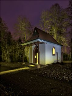 chapel in Goldbach / Germany lighted by torch.