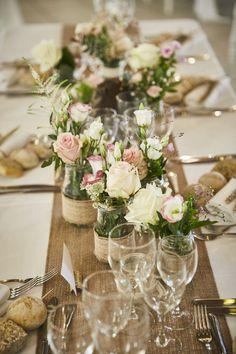 Bocaux décorés et fleuris pour mariage de pays chic. Rose Clair & Blanc - # ... ,  #blanc #bocaux #clair #decores #fleuris #mariage