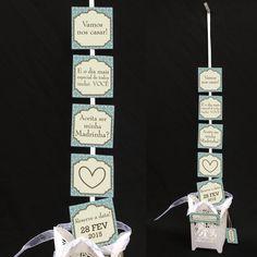 Convite de Casamento Padrinhos com tags. A cada tag, uma parte do convite!