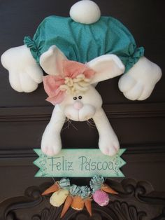 Diy Spring Wreath, Lambs Ear, Baby Pillows, Pink Peonies, How To Make Wreaths, Easter Crafts, Bright Pink, Easter Bunny, Little Ones