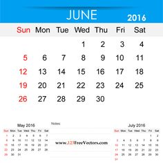 Free Download June 2016 Calendar Printable Template Vector Illustration. Can be used for business, corporate office, education, home etc.Free Editable Monthly Calendar June 2016 available in Adobe Illustrator Ai