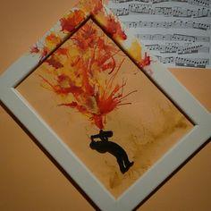 Painting handmade. Orange music.