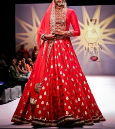#Red Zardozi Banarasi #Silk Silk #Lehenga Set by #Megha And #Jigar at #Indianroots