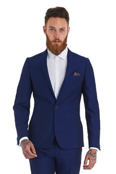 Moss London Slim Fit Electric Blue Suit - Flash Sale: 60% Off