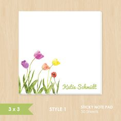 Personalized Sticky Note // Watercolor Tulip Flowers by k8inked, $8.50