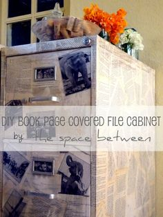 book page covered file cabinet