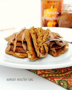 These Flourless Pumpkin Pancakes are paleo, gluten-free and packed with big pumpkin flavor. The essence of cozy, cool Autumn mornings. Fall just got better!!! #pumpkin #Paleo #pancakes