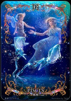 Aphrodite and her son Eros, aka Pisces. Anime Zodiac, Zodiac Art, Astrology Zodiac, Zodiac Signs, Zodiac Characters, Beautiful Fantasy Art, Oracle Cards, Fantasy Artwork, Art Pictures