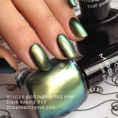 misslyn gold lagoon 562 over black - click thru to imabeautygeek.com for MEGA-swatchin' of Misslyn!