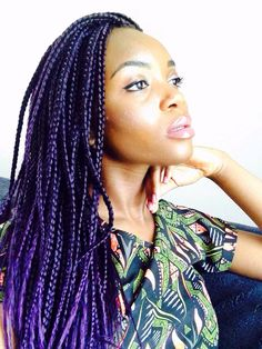 I love my purple box braids!! For my african summer. It's a pretty protective style.