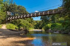 Hike or run the Morningside Nature Preserve to a sandy beach and tall swing bridge on South Peachtree Creek in Atlanta's Morningside neighborhood.