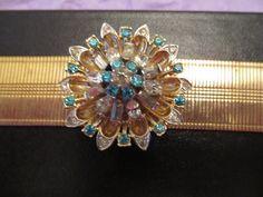 Vintage 50's  Mesh Link Bracelet with Rhinestones and Aqua Rhinestones