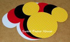20 - 5 inch - MICKEY MOUSE (Banner, Invitation, Wedding, Birthday Party, Disney, Minnie, Embellishment, Birthday, Favor Tag, Shower)