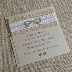 VINTAGE STYLE SAVE THE DATE CARDS Hessian & Lace with Twine Rustic Shabby Chic