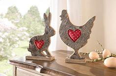 """Deko-Hase """"Pünktchen-Herz"""" mit dekorativem aufgepolstertem Herz"""
