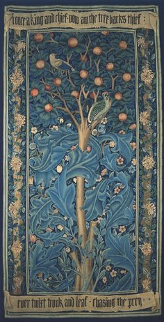 Woodpecker Tapestry, by William Morris, 1885. Morris was inspired by a tale from the Roman poet Ovid's Metamorphoses. A sorceress turns King Picus into a woodpecker when he refuses to become her lover