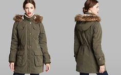 DKNY Anorak - Piper Faux Fur Trim Hood