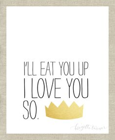 Wall Art Print | Children | Nursery | I'll eat you up I love you so on Etsy, $14.50