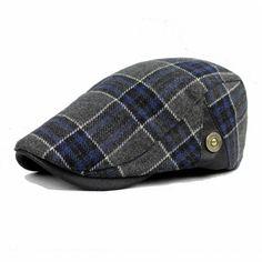 High-quality Male Wool Blend Grid Blank Newsboy Beret Cap Thick Winter Flat Cowboy Cabbie Hat - NewChic