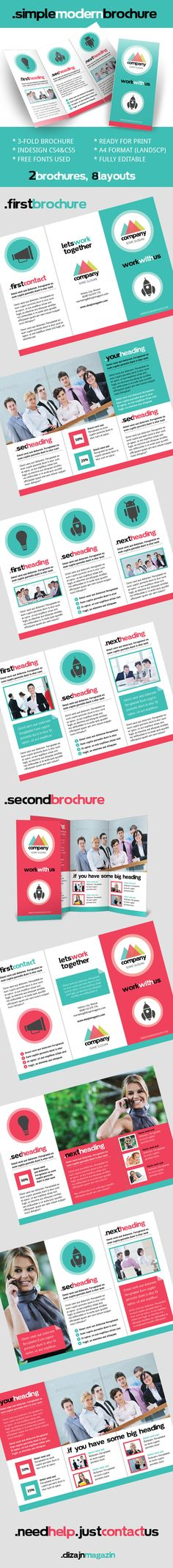 Simple Modern Brochure InDesign Template for Free by Josip Vrbic, via Behance