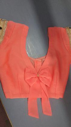 Best 11 Faux bow back blouse Simple Blouse Designs, Saree Blouse Neck Designs, Stylish Blouse Design, Latest Blouse Designs, Sari Design, Designer Kurtis, Embroidery Designs, Designer Blouse Patterns, Bow