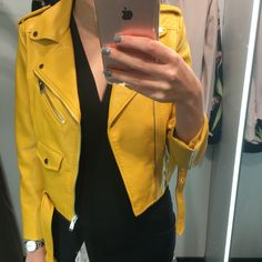 Zara mustard leather jacket