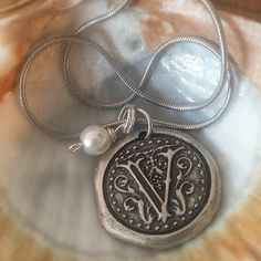 Wax Seal Initial Pendant with Small Pearl Accent on Silver Chain, A-Z