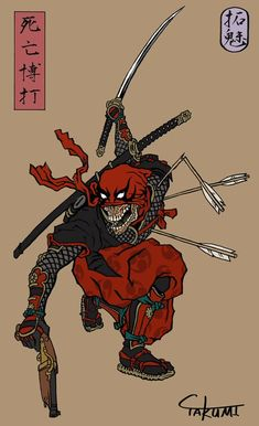 But Samurai don't use firearms. in the taisho period samurai use firearms… Marvel Universe, Marvel Dc Comics, Marvel Heroes, Marvel Avengers, Deadpool Comics, Comic Book Characters, Comic Books Art, Comic Art, Japon Illustration