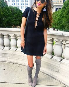 Red Soles and Red Wine Best Over the Knee Boots, Laced Black Dress, Tassel Earrings