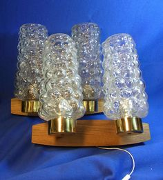 Pair Mid Century 60´s German Teak & Bubble Glass Wall Lamps Sconces #O/D