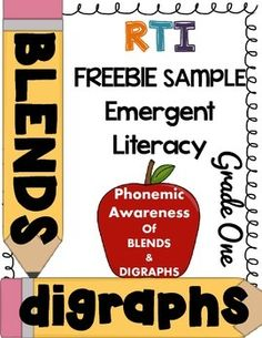 ***FREEBIE*** Grade One RTI Emergent Literacy - Phonemic awareness of blends