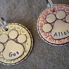 The Gus tag is just perfect for your larger pup and you can really customize this one to your hearts content ! The Gus dog tag can be all silver or multi colored and its approx. 1 3/8 in diameter. It has super cool textures too!  Well take a sturdy back disc (nickel silver), hand stamp