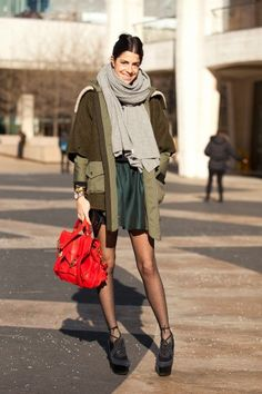 Leandra Medine, Man Repeller, has us green with envy over this layered look. Photographed by Mark Iantosca